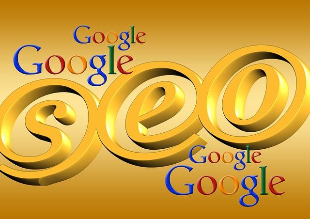 zlatý nápis SEO s názvem společnosti Google okolo